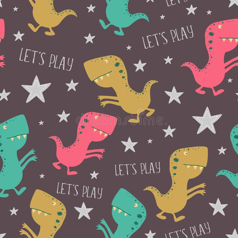 Cute dino hand drawn seamless pattern. childish drawing Tiranosaurus colorful ti. Monster reptile illustration art tyrannosaurus baby graphic vector cartoon vector illustration
