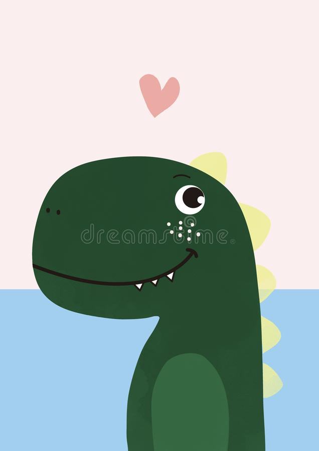 Cute Dino, illustration de dinosaures pour t-shirt imprimé photo stock
