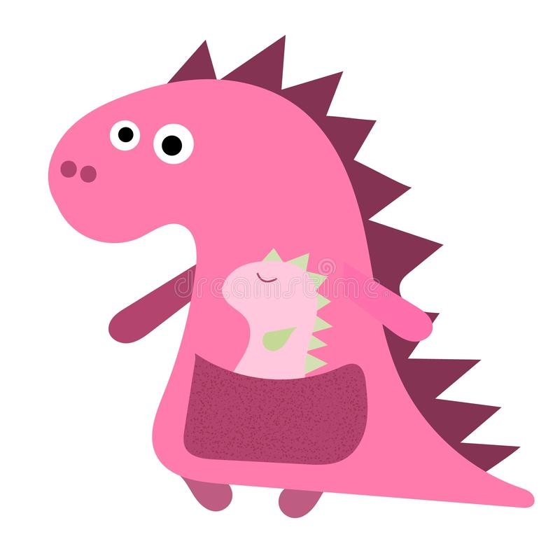 Cute dino mum with with a little dinosaur. Dino pink girl, mum and her baby, flat hand drawn vector character. Cute pink dinosaur vector illustration