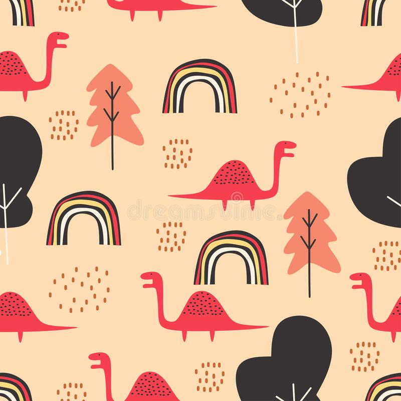 Cute dino seamless pattern for baby and kids vector illustration funny drawing scandinavian hand drawn background ready for royalty free illustration