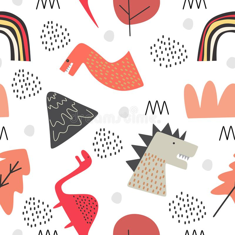 Cute dino seamless pattern for baby and kids vector illustration funny drawing scandinavian hand drawn background ready for stock illustration