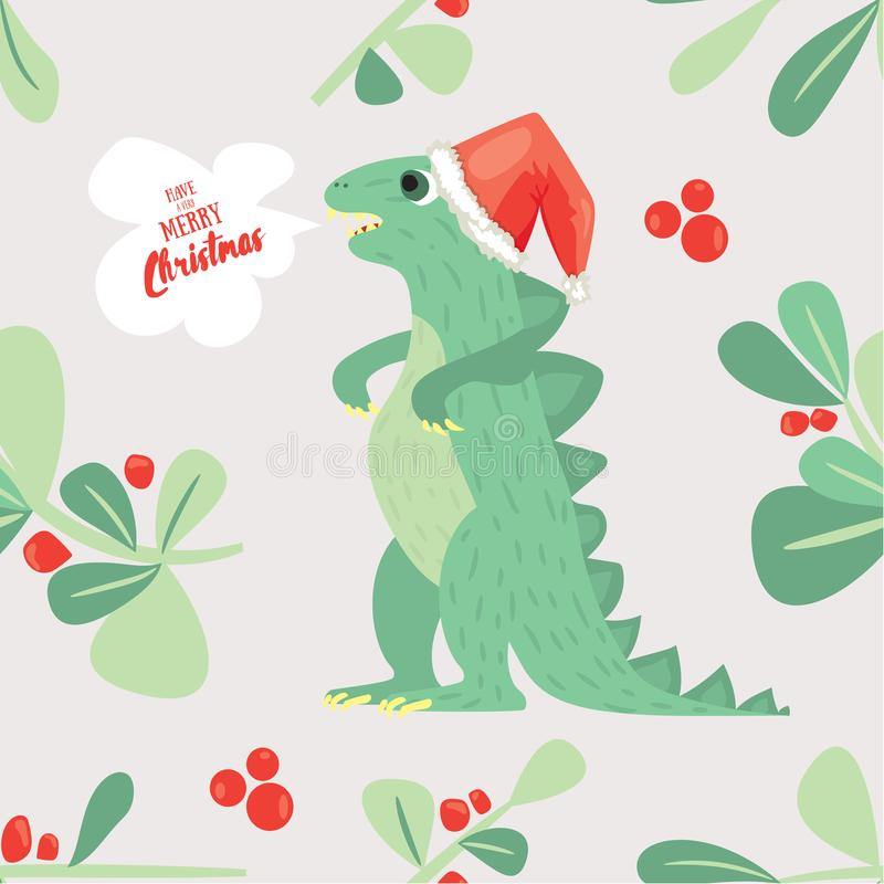 Cute Dino wish you to have a very merry Christmas. Holiday seamless pattern good for textile ar wrapping paper stock illustration