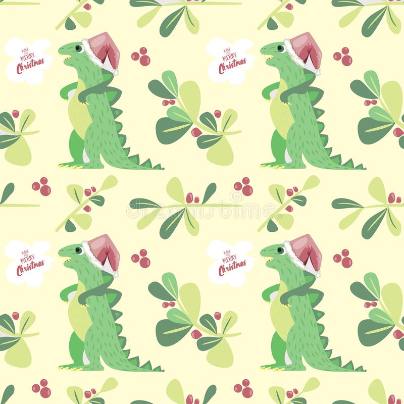 Cute Dino wish you to have a very merry Christmas. Holiday seamless pattern good for textile and wrapping paper vector illustration