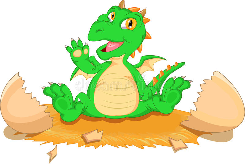 Cute dinosaur cartoon hatching. Illustration of Cute dinosaur cartoon hatching stock illustration