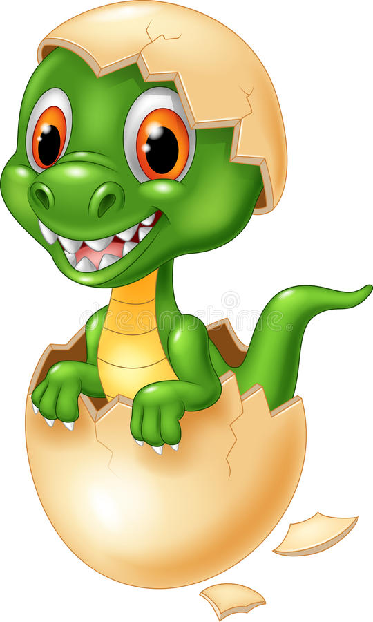 Cute dinosaur cartoon hatching. Illustration of Cute dinosaur cartoon hatching royalty free illustration