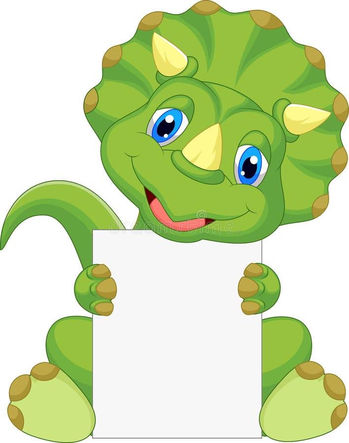 Cute dinosaur cartoon holding blank sign. Illustration of Cute dinosaur cartoon holding blank sign stock illustration
