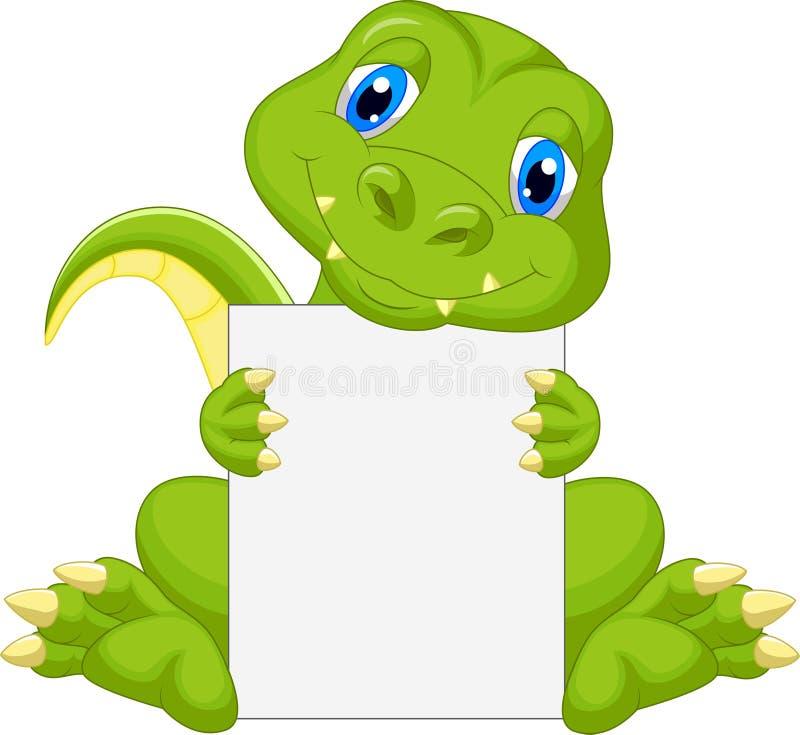 Cute dinosaur cartoon holding blank sign stock illustration
