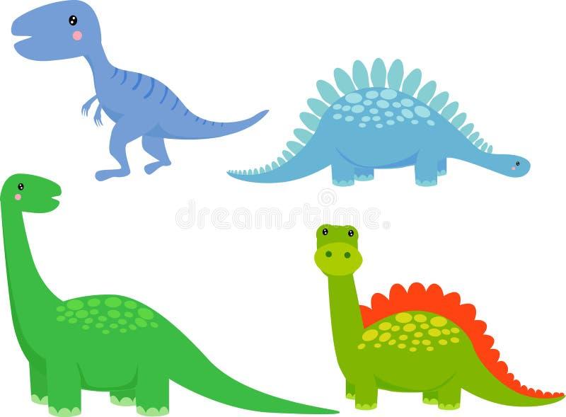 Cute dinosaur cartoon set vector illustration