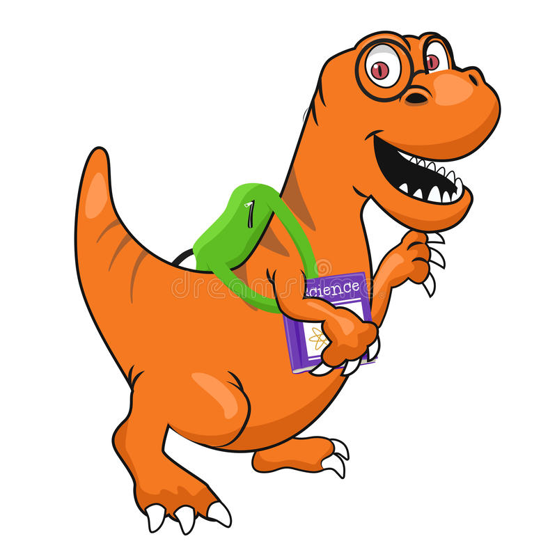 Cute dinosaur with glasses and textbook wearing backpack walking to school royalty free illustration