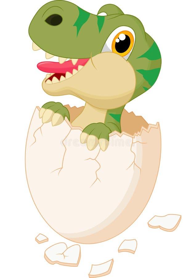 Cute dinosaur hatching. Illustration of Cute dinosaur cartoon hatching stock illustration
