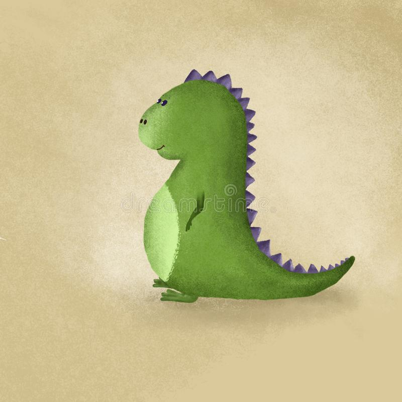 CUTE DINOSAUR MADE IN CARTOOM STYLE LOVELY AND PRETTY stock illustration