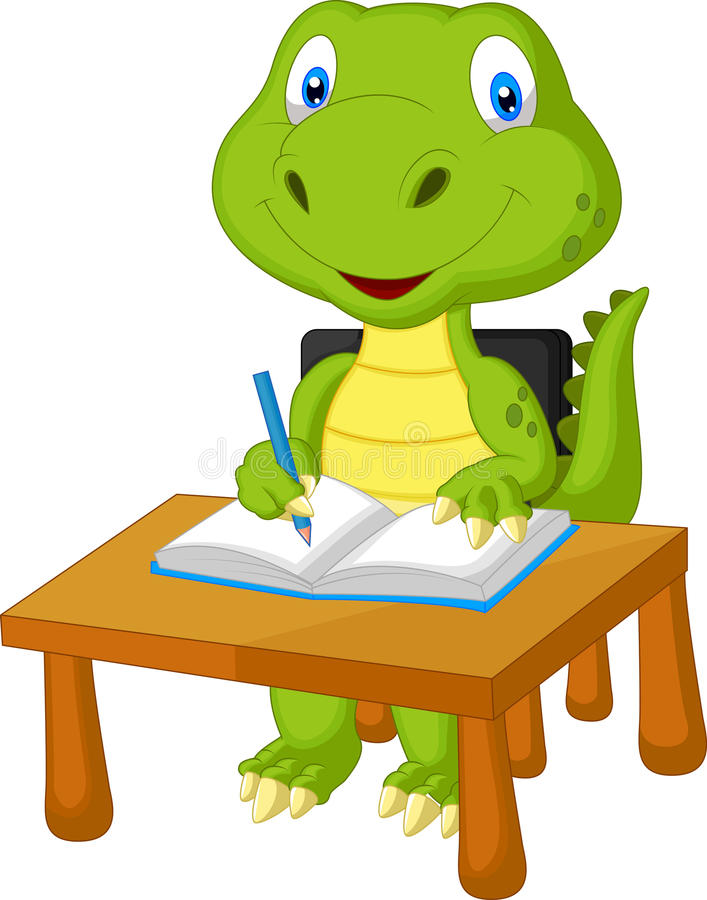 Free Cute Dinosaur Studying Royalty Free Stock Image - 45672086