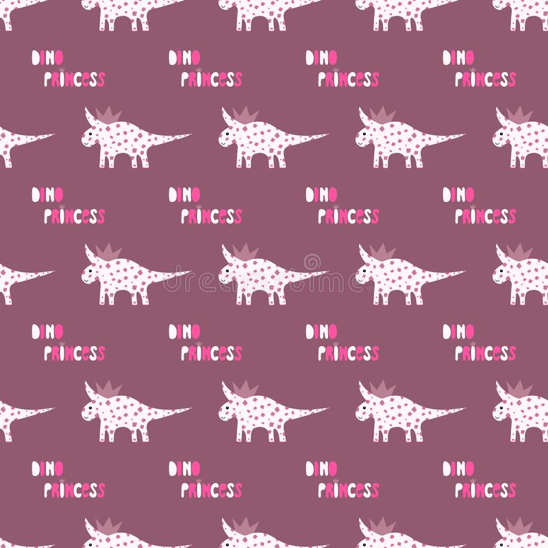 Cute dinosaurs with crowns seamless pattern on the dark background. Vector dino texture for kids. Design for nursery. Background. Perfect for kids design vector illustration