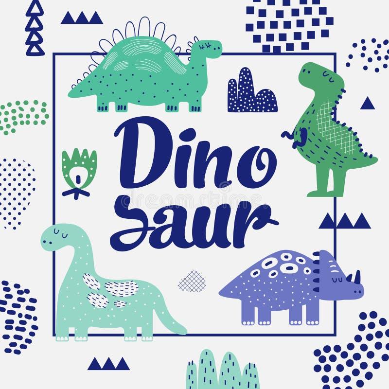 Cute Dinosaurs Design. Childish Background stock illustration