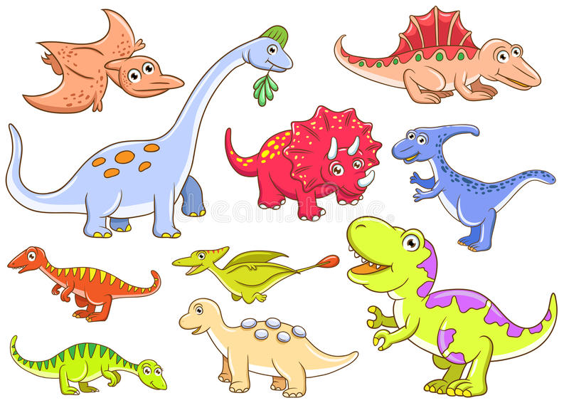 Cute dinosaurs. EPS10 File - simple Gradients, no Effects, no mesh, no Transparencies. All in separate group for easy editing royalty free illustration