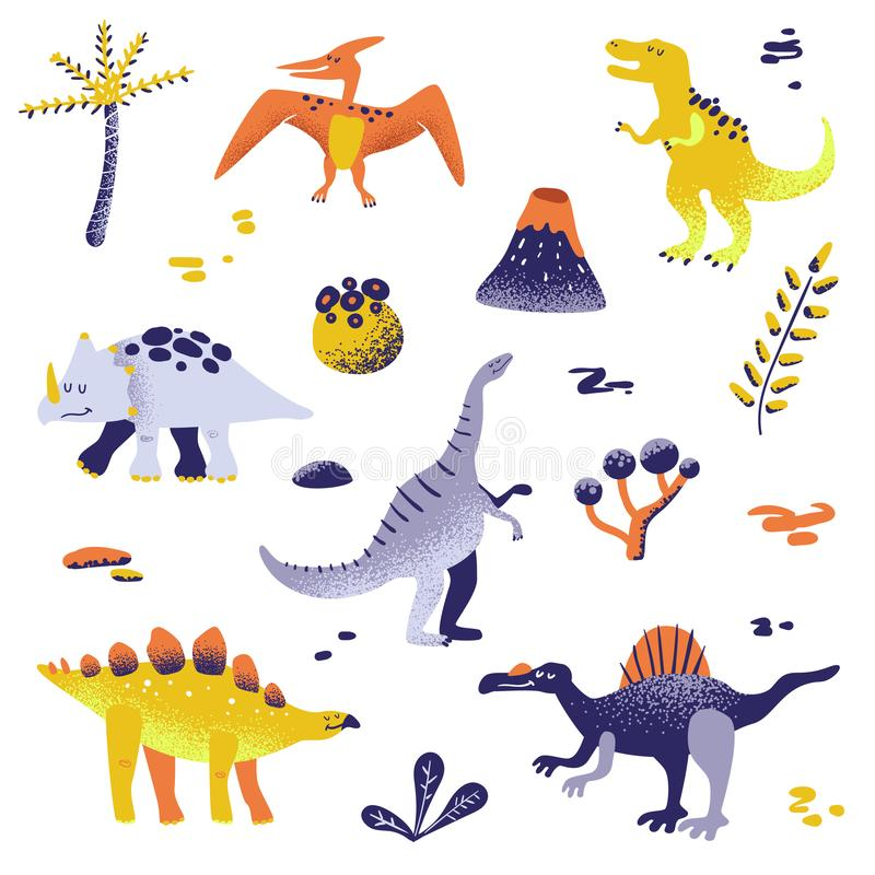 Cute Dinosaurs isolated on white background. Dinosaur footprint, Volcano, Palm tree, Stones. Baby Dino Collection. For Nursery, Textile, Book, Print in vector vector illustration
