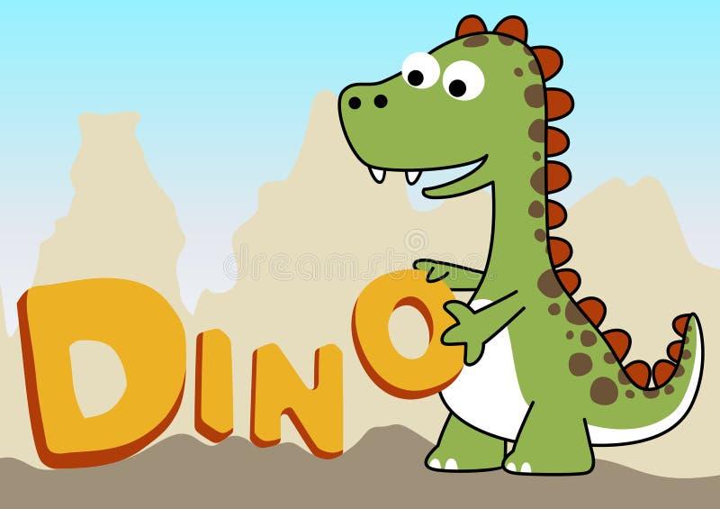 Cute dinosaurs. Dinosaurs learn to read vector cartoon royalty free illustration