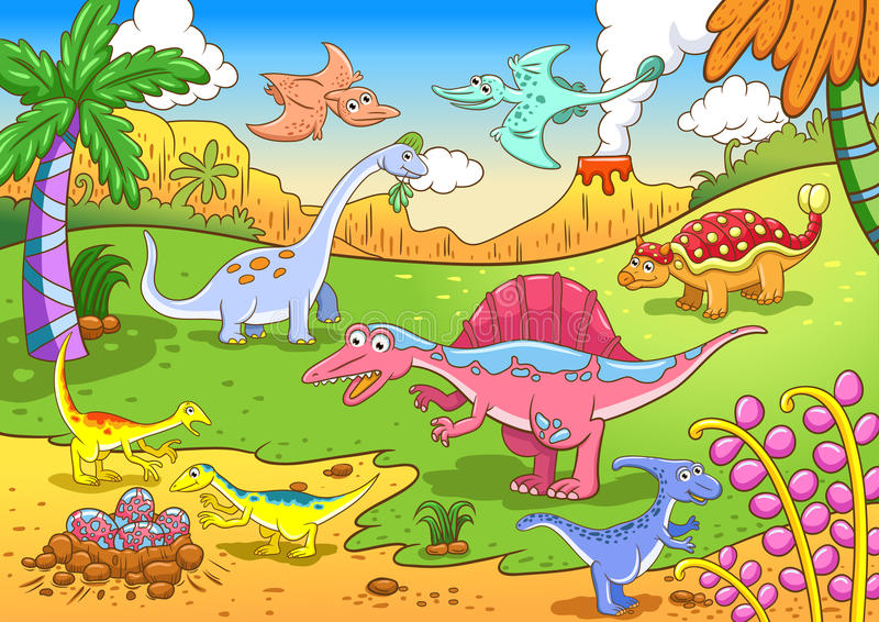 Cute Dinosaurs In Prehistoric Scene Royalty Free Stock Photography