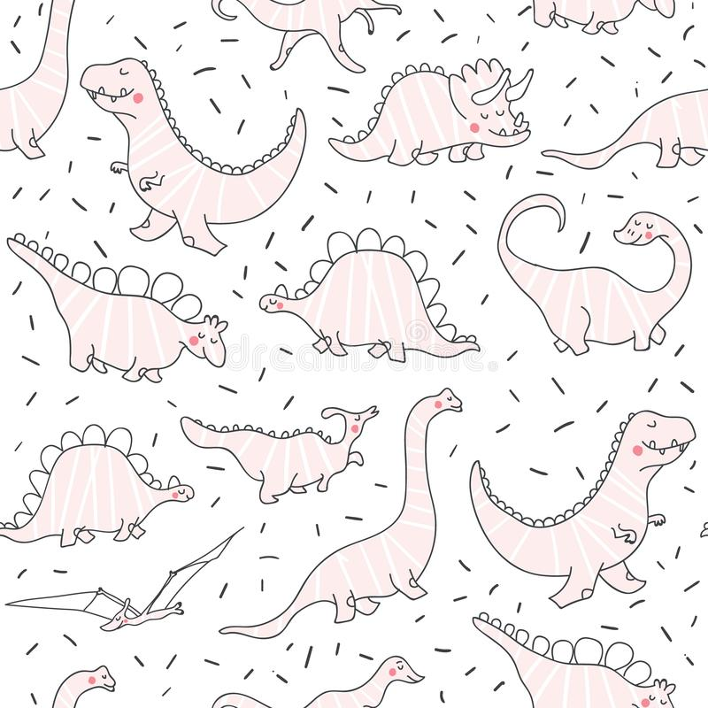 Cute dinosaurs seamless pattern royalty free illustration