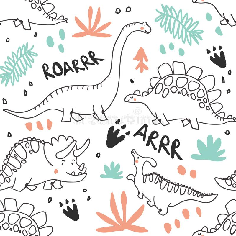 Cute dinosaurs and tropic plants seamless pattern royalty free stock photos