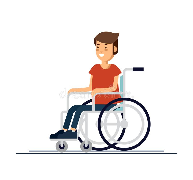 Cute disabled boy kid sitting in a wheelchair. Handicapped person. Flat style cartoon vector illustration. Cute disabled boy kid sitting in a wheelchair stock illustration