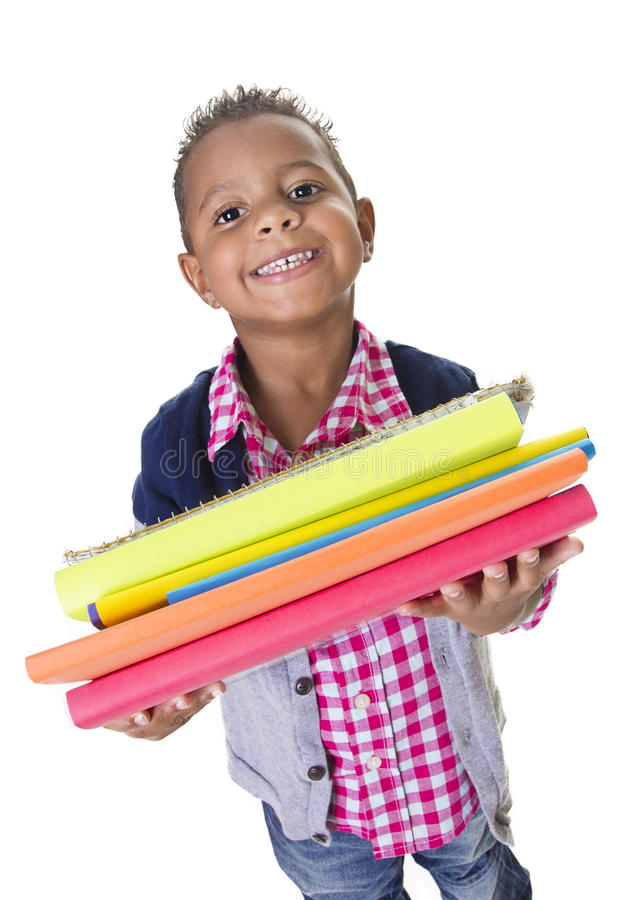 Cute Diverse little student carry school books royalty free stock photos