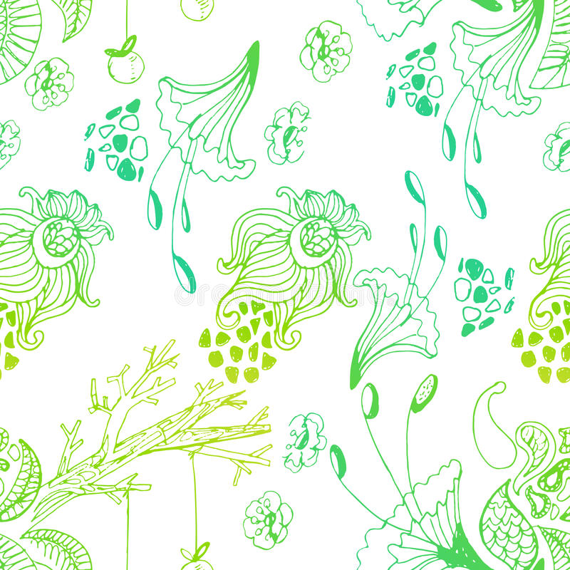 Cute doddle magic forest pattern royalty free illustration