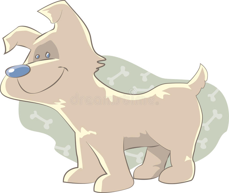Cute dog. A small and cute pet dog, alert and waiting for the arrival of its owner royalty free illustration
