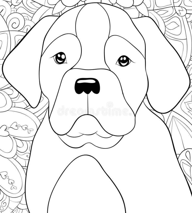 Adult coloring book,page a cute dog on the floral abstract background image for relaxing.Zen art style illustration. A cute dog on the abstract floral stock illustration