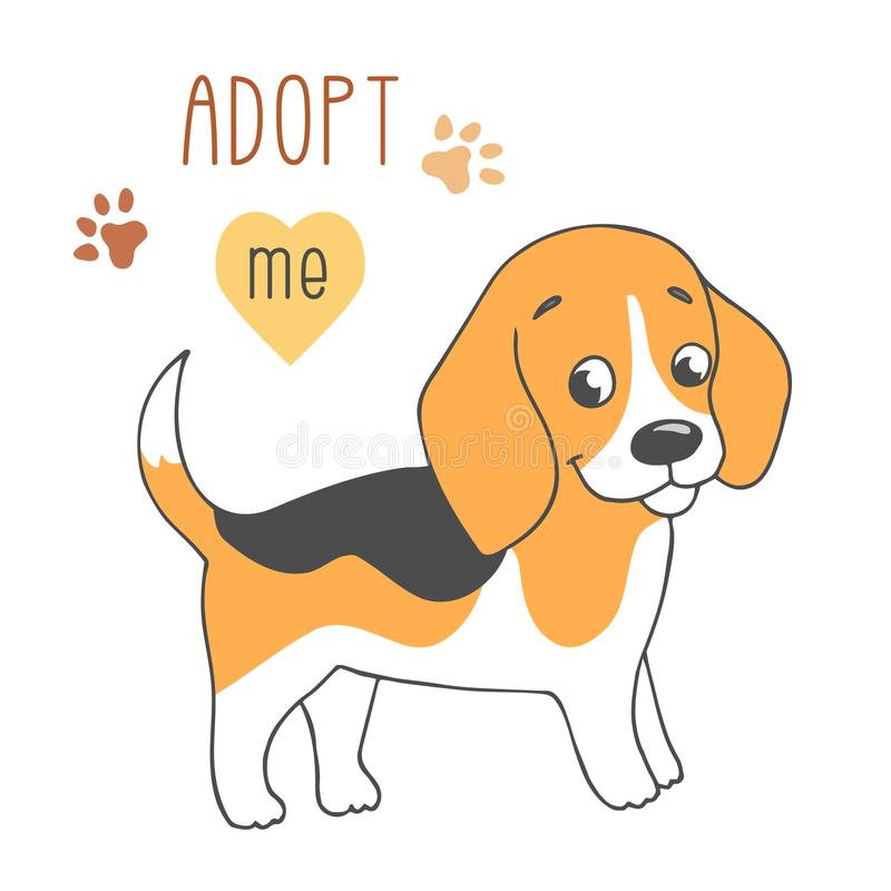 Cute dog, Adopt me. Cute dog with Adopt me text. Pet adoption. Help homeless animal concept. Cartoon character on white background vector illustration