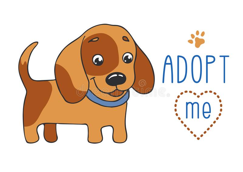 Cute dog , Adopt me. Cute dog with Adopt me text. Pet adoption. Cartoon character on white background. Horizontal size A4 stock illustration