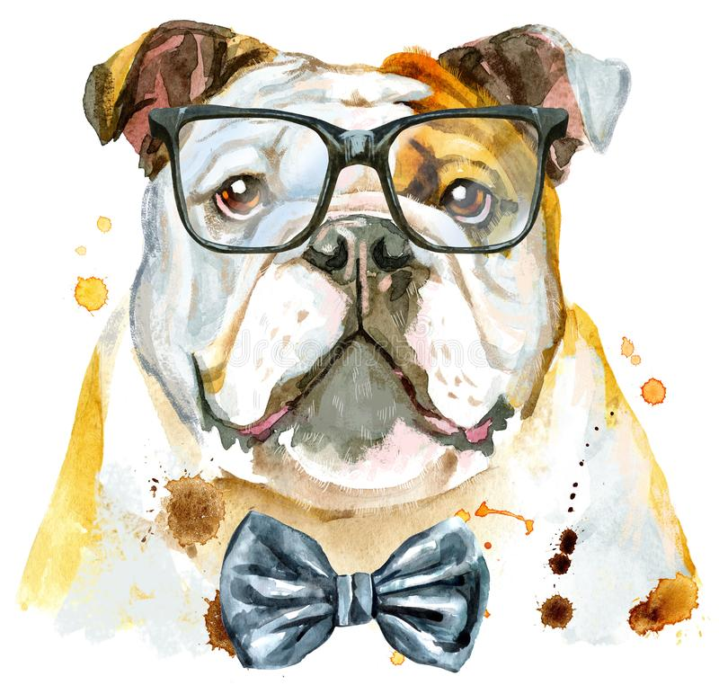 Watercolor portrait of bulldog with bow-tie and glasses vector illustration