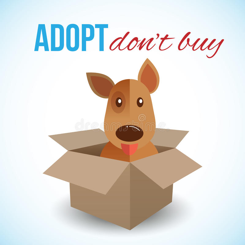 Cute dog in a box with Adopt Don't buy text. Homeless animals concept, pets adoption theme. Vector illustration stock illustration