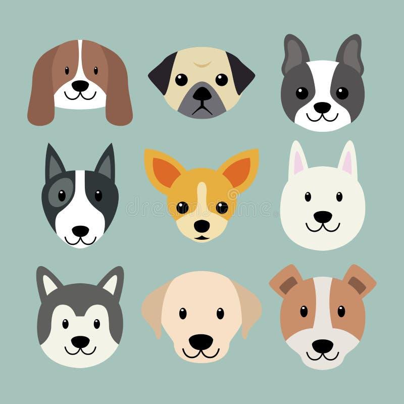 Cute dog breeds amazing flat vector dog face. Flat style dog head icons. Cartoon dogs faces set. Vector illustration isolated on white stock illustration