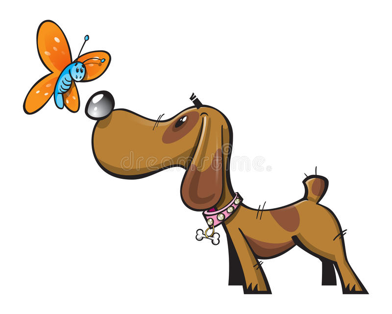 Cute dog and butterfly. Illustration of a cute brown dog with pink collar sniffing a beautiful butterfly comes in easy edit layered illustrator file (CS&#
