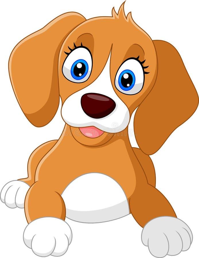 Cute dog cartoon stock illustration
