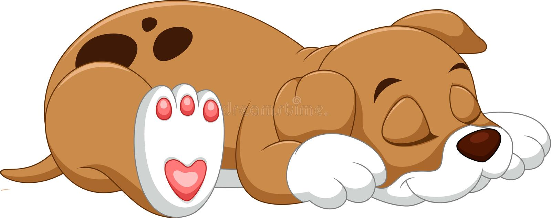 Cute dog cartoon. Illustration of Cute puppy cartoon sleeping royalty free illustration