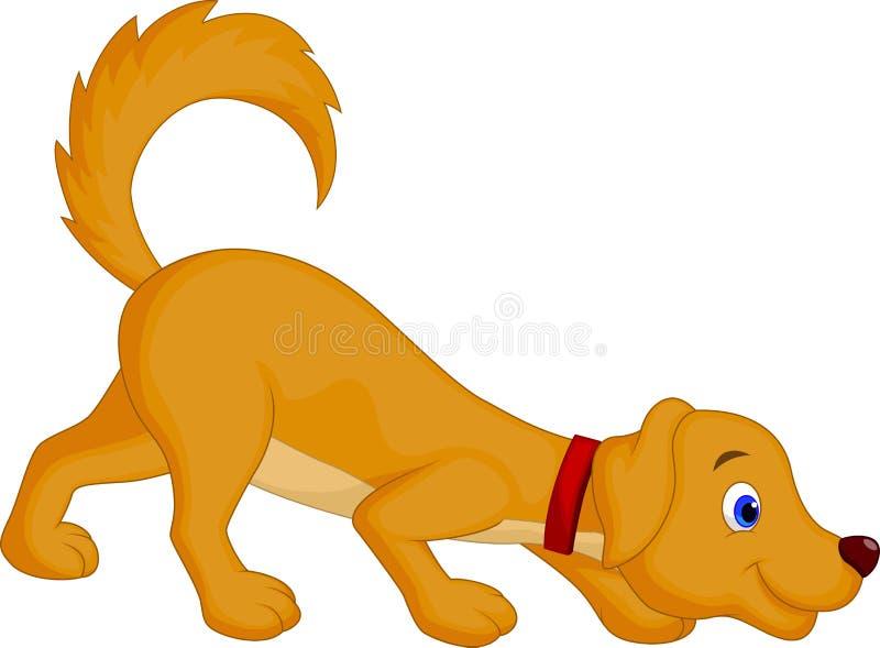 Cute dog cartoon sniffing stock illustration