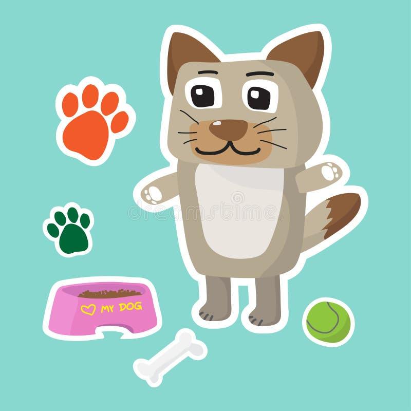 Cute dog cartoon sticker set on blue background royalty free stock image