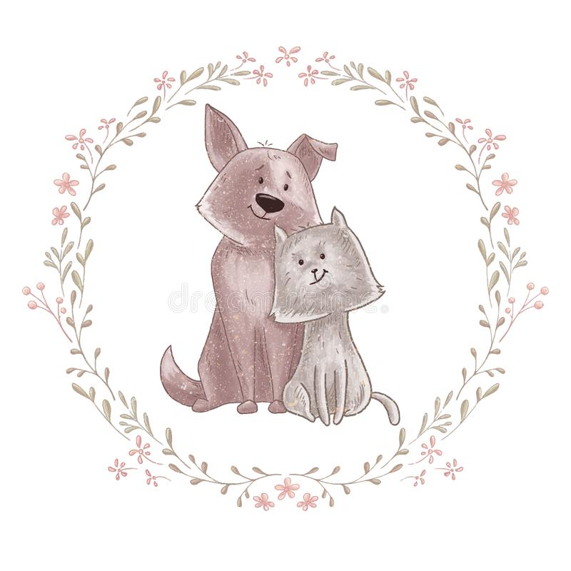Cute dog and cat royalty free illustration