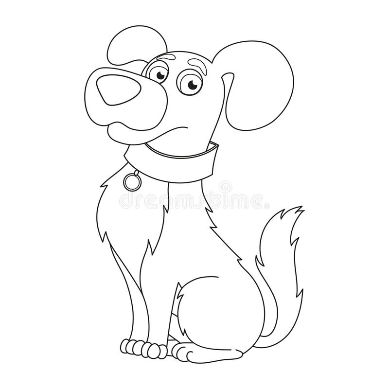 Cute Dog, Coloring Book Page For Children Stock Vector ...