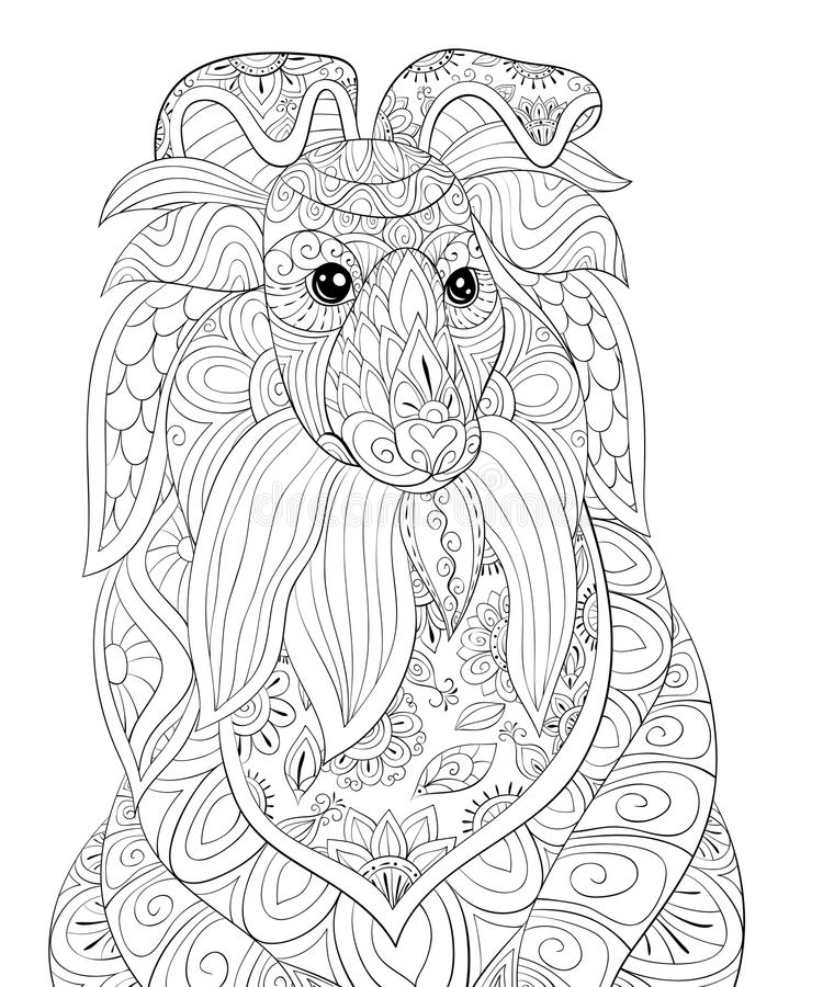 Adult coloring page a cute dog for relaxing.Zen art style illustration. A cute dog for coloring and relaxing.Zen art style illustration.Poster,wallpaper royalty free illustration