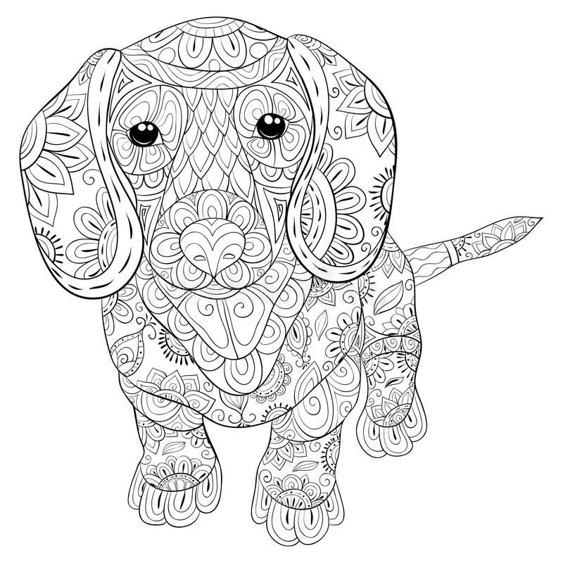 Adult Coloring Page A Cute Isolated Dog For RelaxingZen