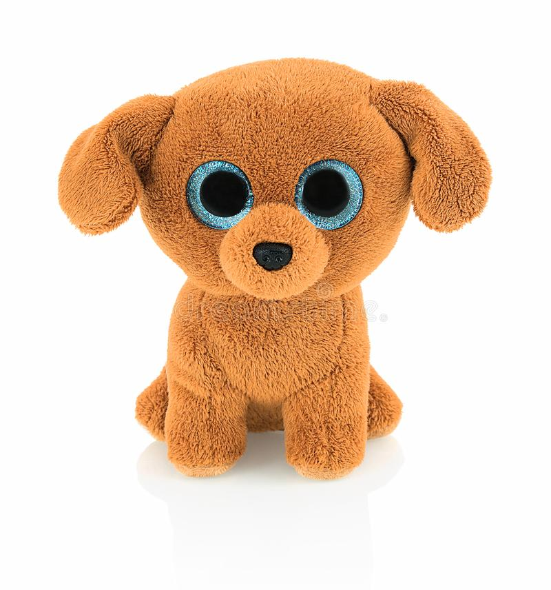 Cute dog doll with blue eyes on white background with shadow reflection. Playful bright brown dog toy sitting on white. Cute dog doll with blue eyes on white royalty free stock images