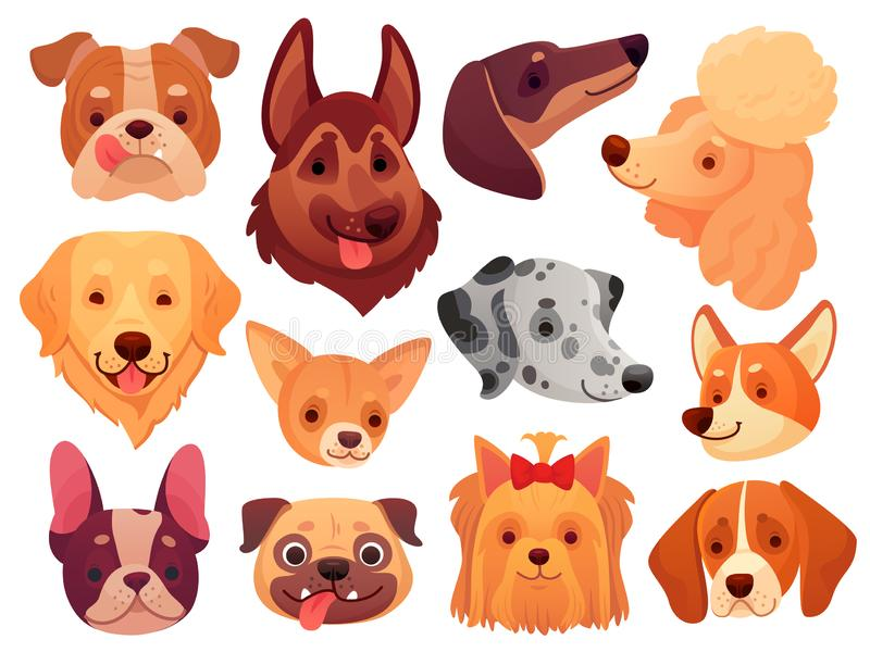 Cute dog face. Puppy pets, dogs animals breed and puppies heads vector illustration set vector illustration