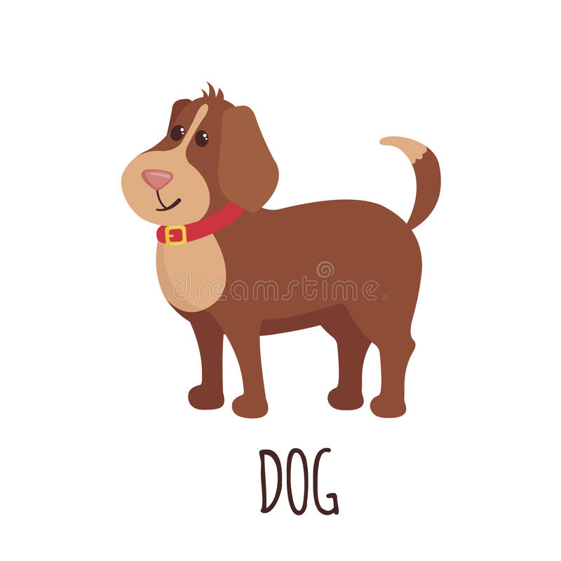Cute dog in flat style. Cute dog in flat style isolated on white background. Vector illustration. Cartoon dog royalty free illustration