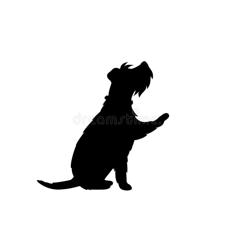 Cute dog giving a paw black silhouette logo vector illustration