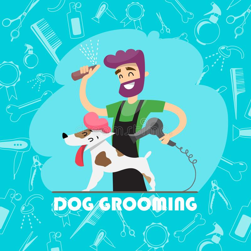Cute dog at groomer salon and set of icons vector illustration