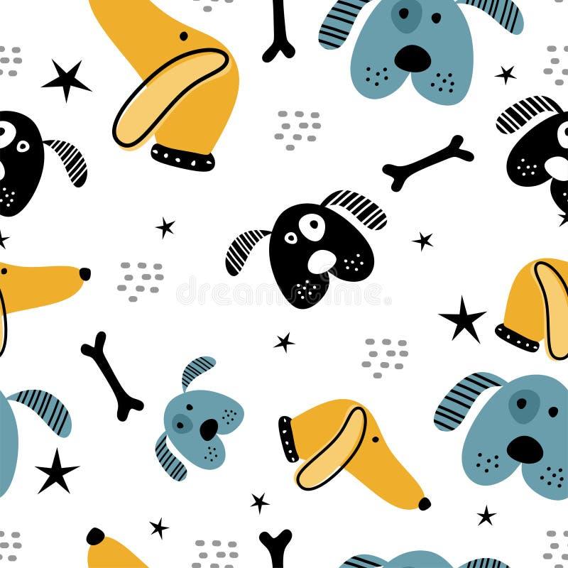 Cute dog hand drawn scandinavian drawing style pattern. Vector, illustration, animal, background, design, pet, art, cartoon, abstract, print, puppy, seamless vector illustration