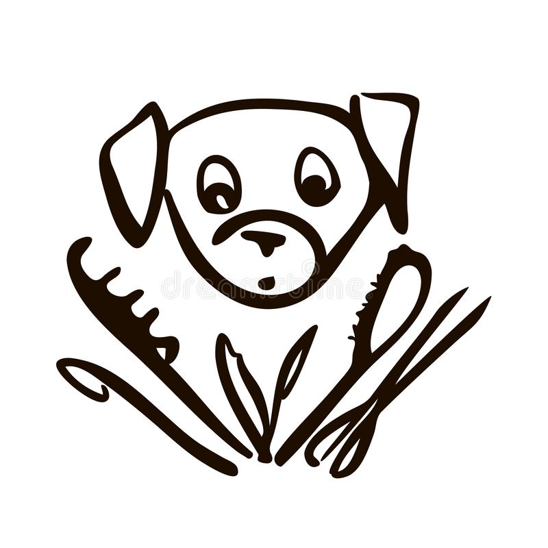 Cute dog head line art drawing. Head line art drawing border terrier silhouette, hair dryer, . Health care, grooming, caring for a dog, exhibition, scissors vector illustration